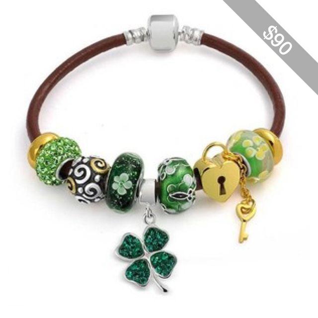 Bling Jewelry Sterling Silver Flower Green Clover Charm Bracelet Fits Pandora