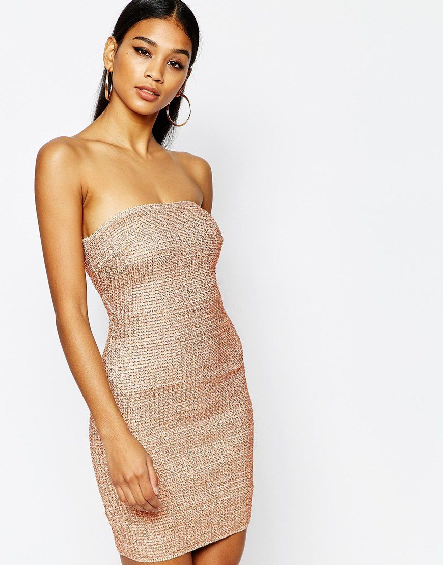 f2540901 WOW Couture Bandeau Bandage Dress In Metallic   dressy