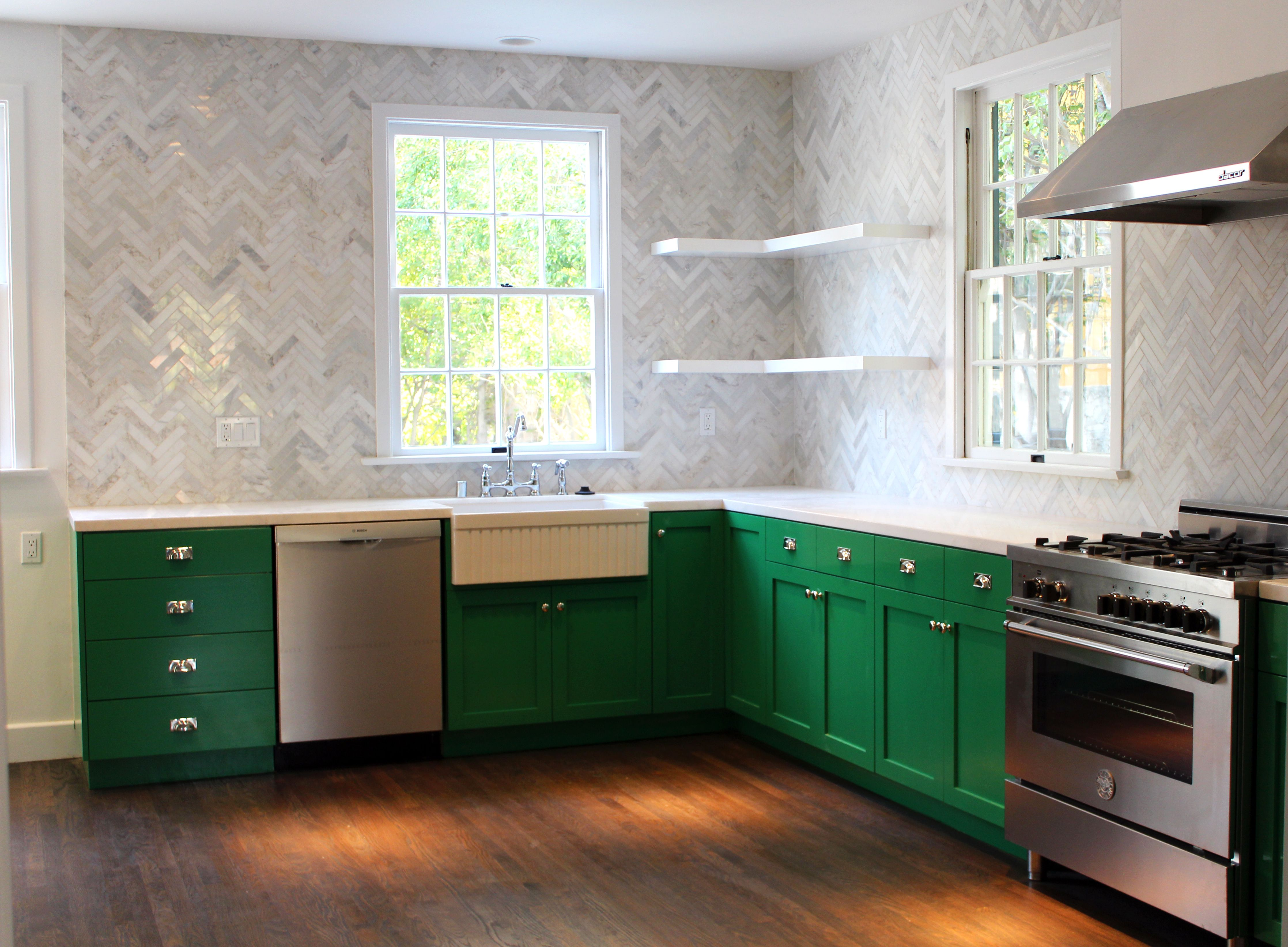 once upon a time by benjamin moore green cabinets. herringbone ...