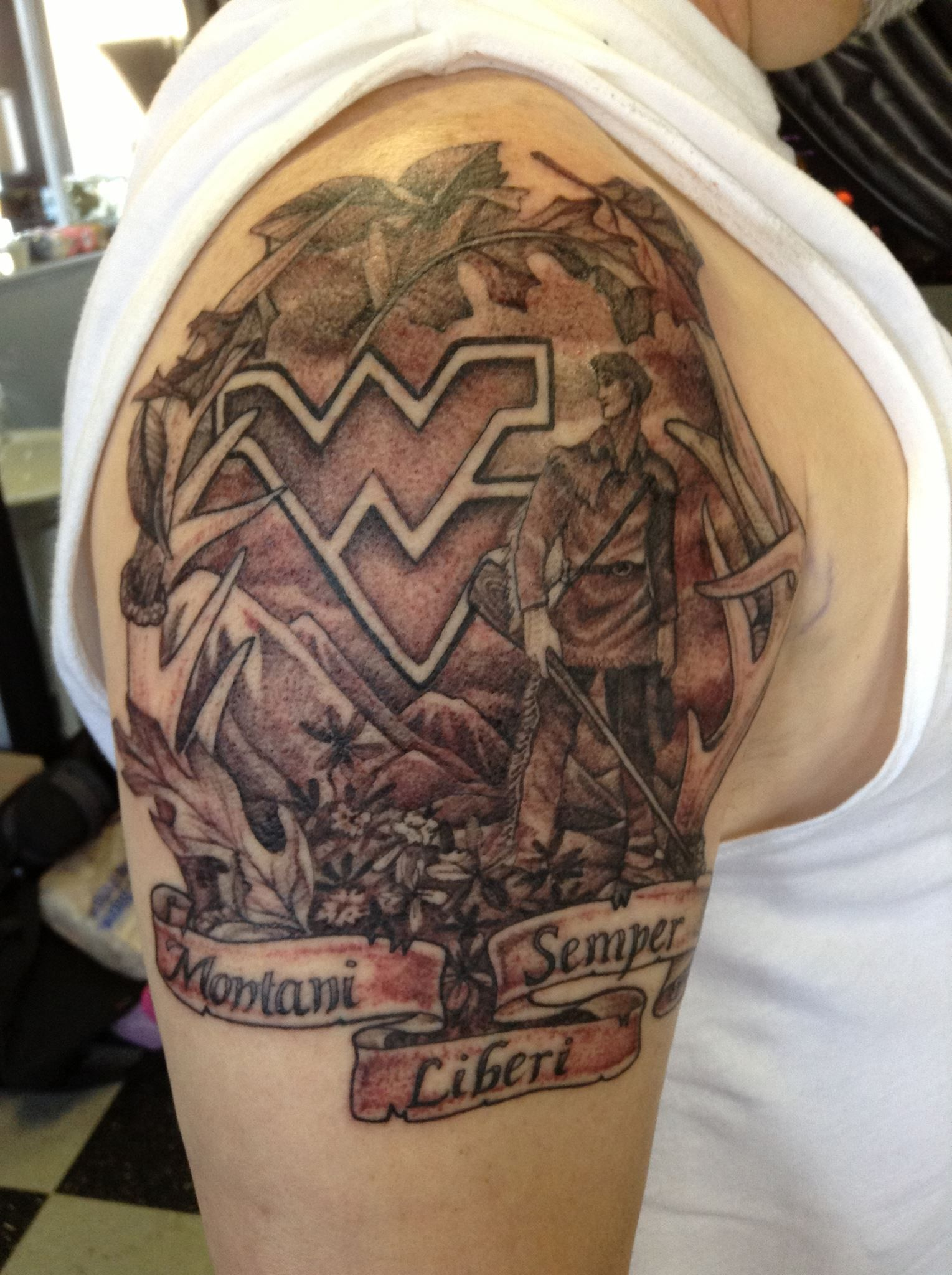 West Virginia Tattoo Ideas : virginia, tattoo, ideas, Patty's, Morgantown, Amazing, Work!, Virginia, Tattoo,, Antler, Tattoos,, Tattoos