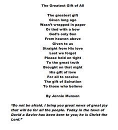 The Greatest Gift. A Christmas Poem. | God help | Pinterest | Poem