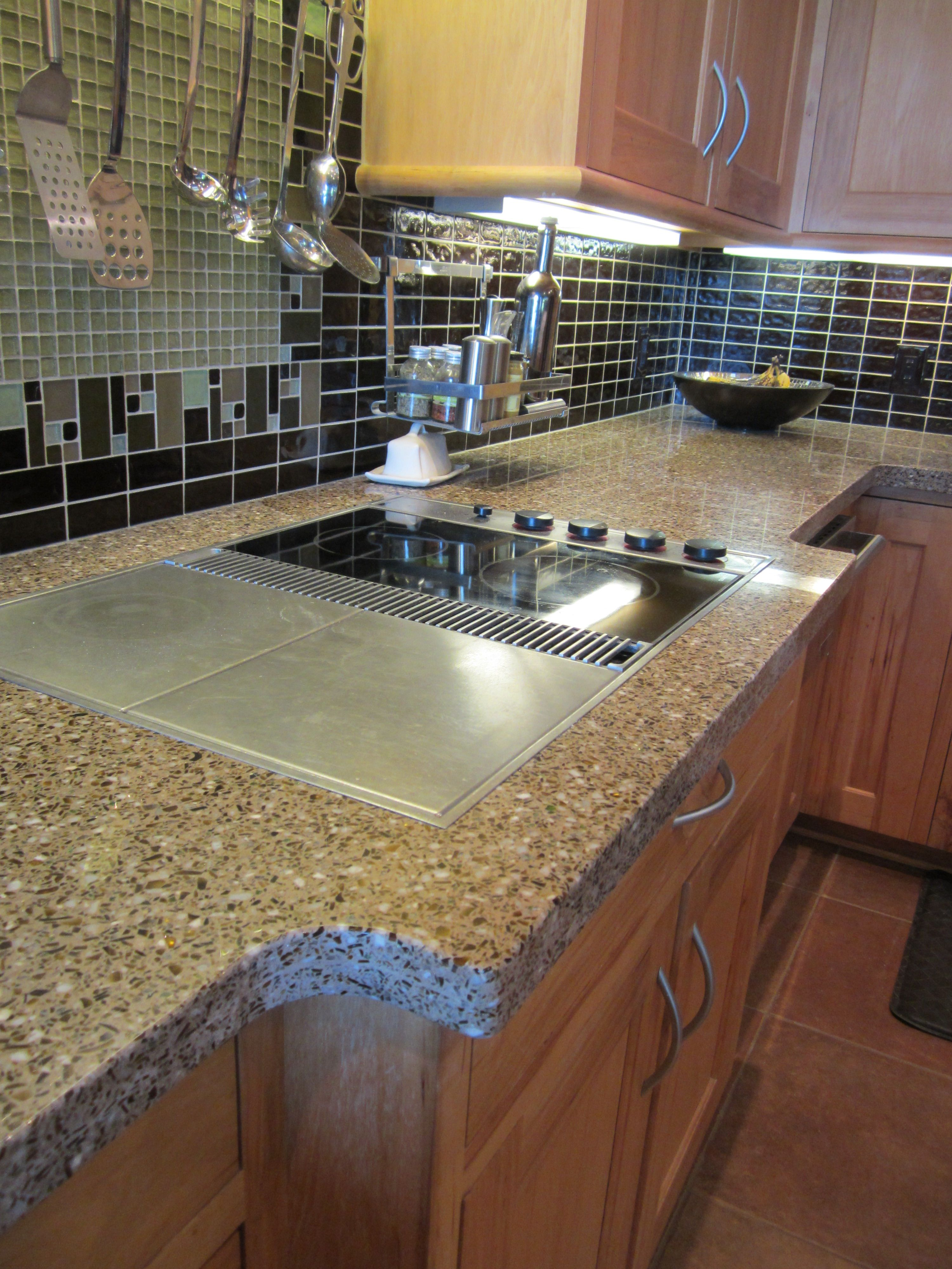 The Homeowner Chose Their Combination Of Glass And Background Color To Be Applied In Their Beau Recycled Glass Countertops Glass Countertops Beautiful Kitchens