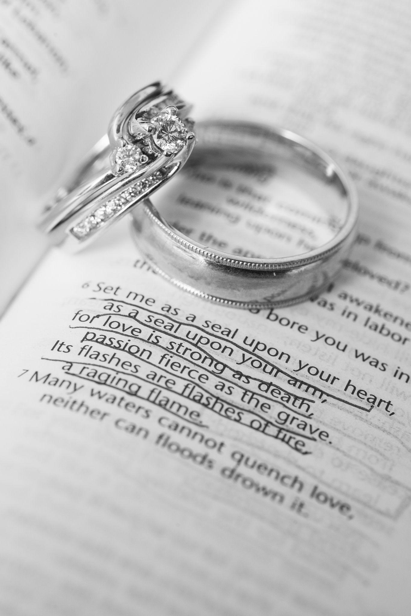 Wedding Rings on Bible Verse Wedding rings on Bible