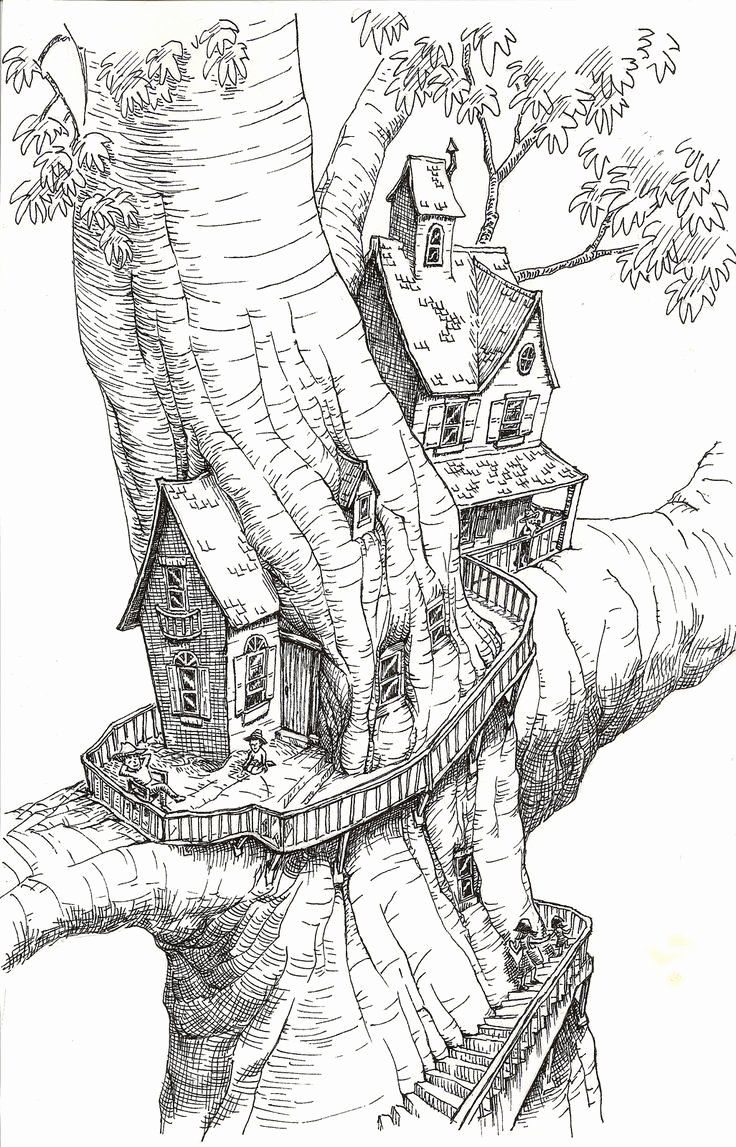 Tree House Coloring Pages Print Fresh Coloring Book World Christmase Coloring Page House Pages Sketch Book Drawings Tree House Drawing