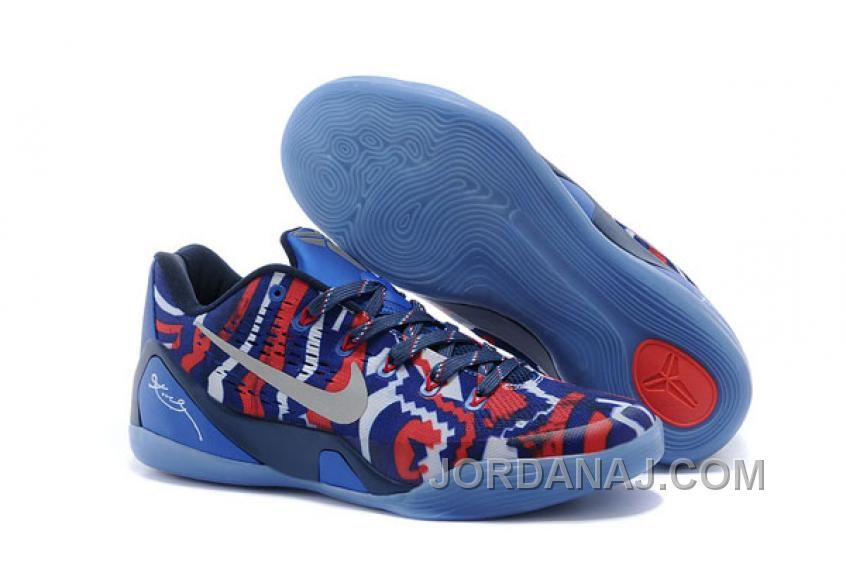 Independence Day - Womens Nike Air Kobe IX EM White/Metallic Silver with  Hyper Cobalt/Action Red Low-Cut Sneakers