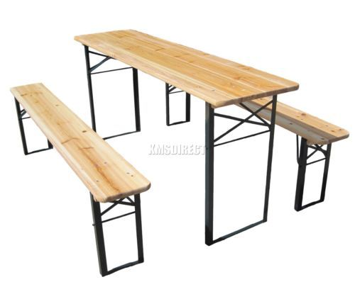 Wooden Folding Beer Table Bench Set Trestle Party Pub Garden Furniture Steel Leg Folding Garden Table Table And Bench Set Wooden Garden Table