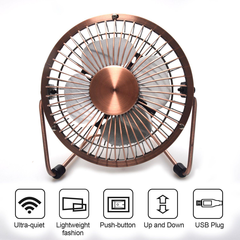 Mbsshi Mini Usb Desk Fan Laptop Cooler Cooling Personal Fan Desktop Small Table Fan Lower Noise Metal Design Usb Power Mini Desk Fan Desk Fan Metal Design