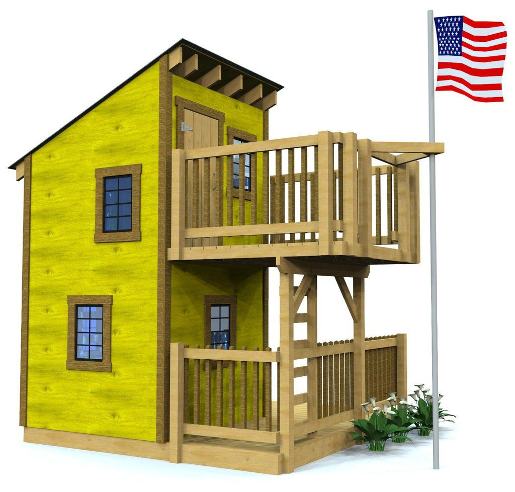Deluxe Loft Clubhouse Plan 2 Sizes Sold Separately Play Houses Build A Playhouse Playhouse Plans