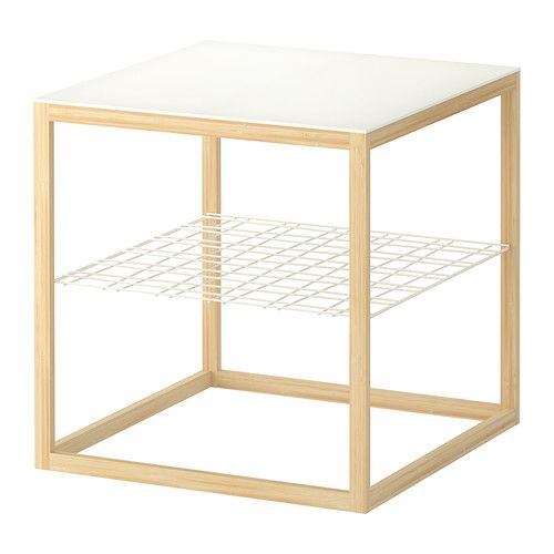 IKEA PS 2012 Beistelltisch Weiss Bambus 48x48 Cm
