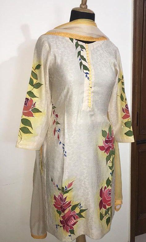 4fc38e5f2f Pin by Simrat Mansahia on Hand Painted Kurtis | Hand painted sarees, Silk  painting, Indian designer wear