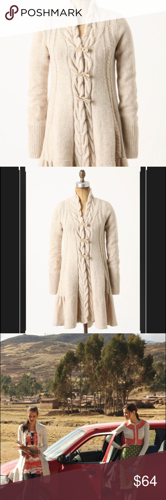 Anthro Braided Knit Toggle Sweater Coat