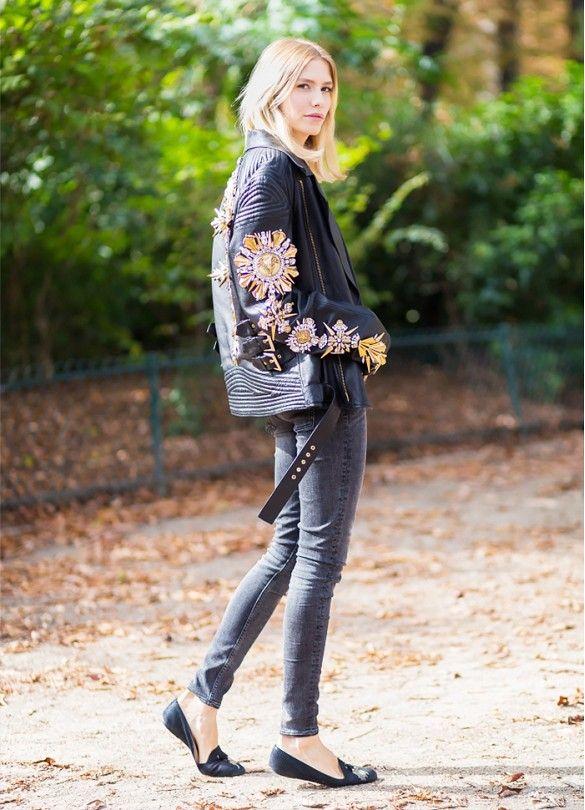 df8e66fcafd Elena Perminova wears an embellished leather jacket