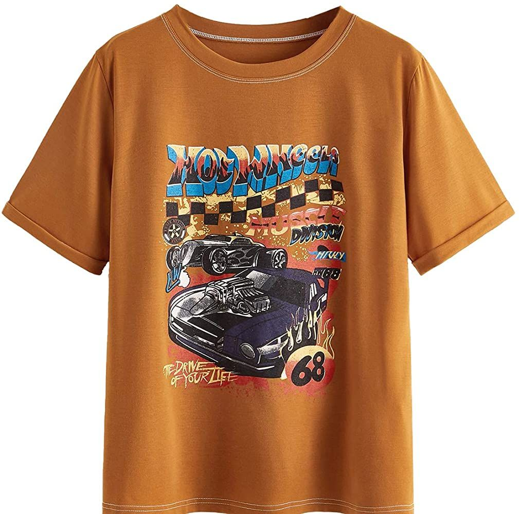 Shein Women S Graphic Vintage Car T Shirt Letter Print Casual Tee Short Sleeve Round Neck Top Black Medium At A In 2020 Graphic Tee Outfits Graphic Tees Graphic Shirts