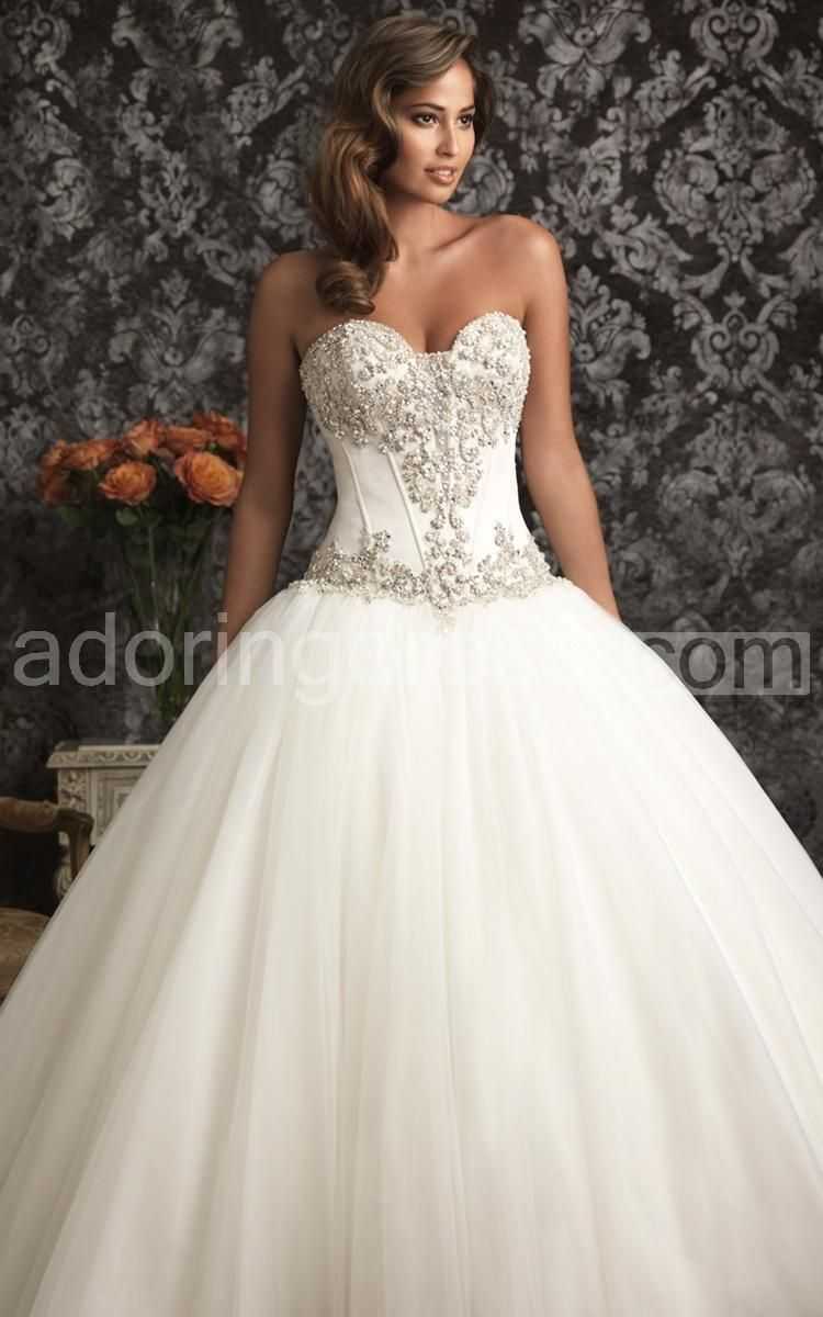 Cheap 2015 Ball Gowns Wedding Dresses Sweetheart Bling Pearls ...