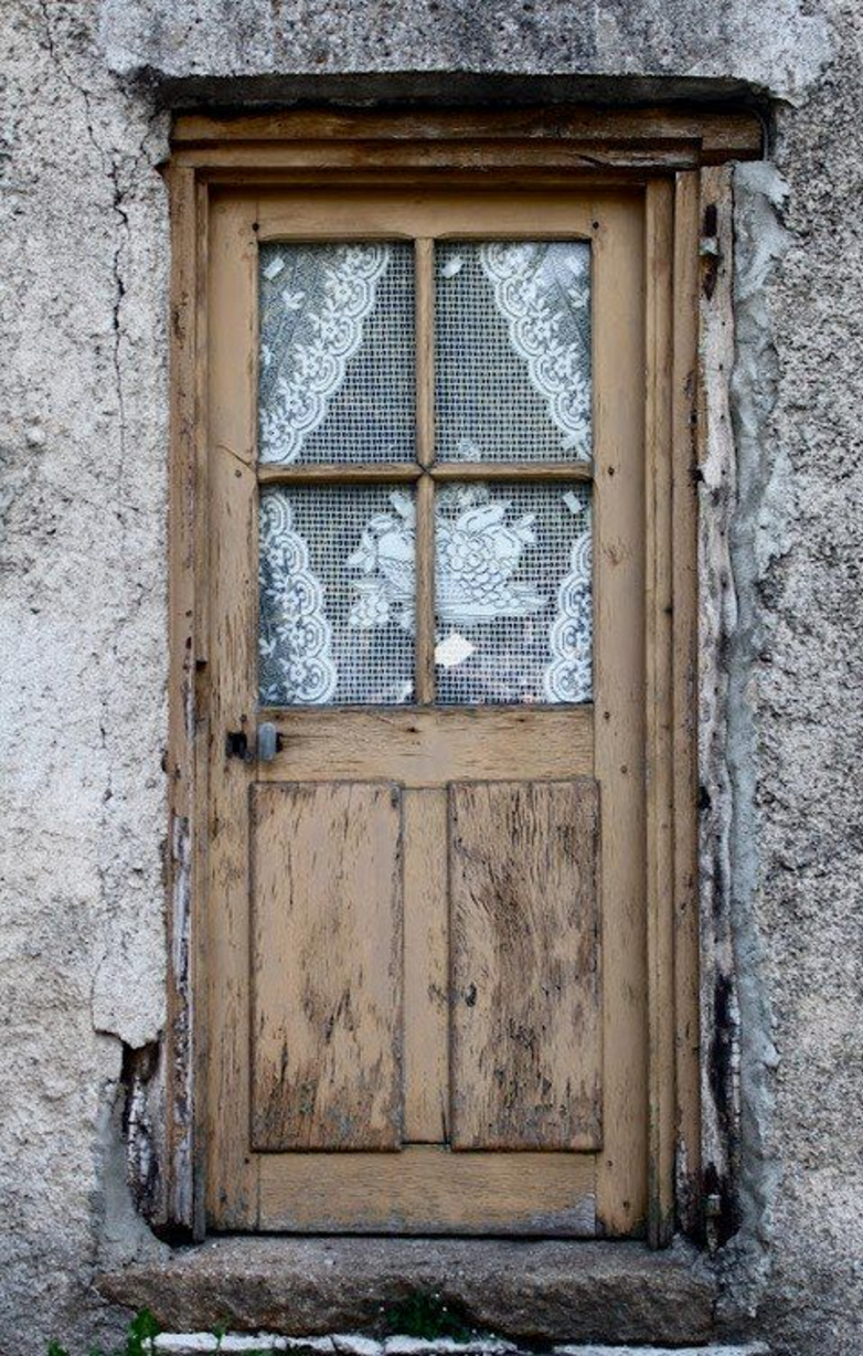 Old wooden door, weathered, cracks, window, lace, steps, beautiful ...