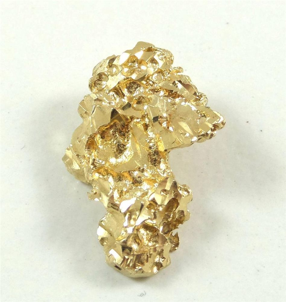 Vintage solid 14k yellow gold nugget design charm pendant 2 5g 409003