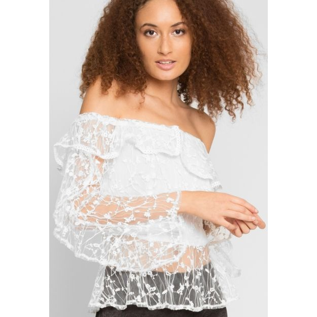 4dba99154970b Sweet kiss embroidered mesh top in white