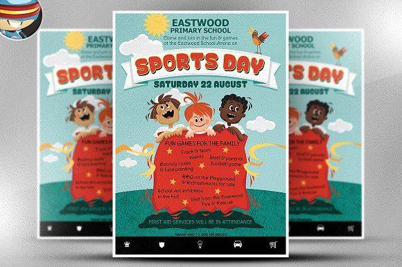 Kid\u0027s Sports Day Flyer Template by FlyerHeroes on @creativemarket