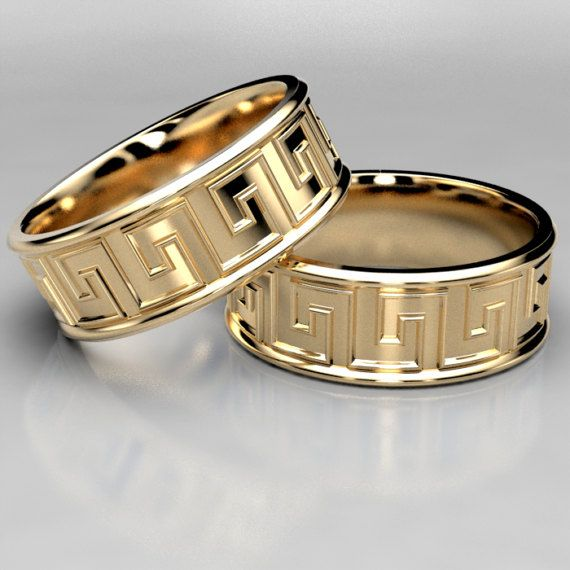7473b3be6ea78 Beautiful Meandros Greek Key pattern on a wide wedding ring. Made to ...