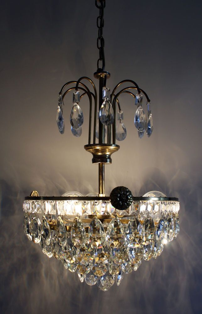 Antique Basket Style Brass & Crystals Chandelier from 1950's - Antique Basket Style Brass & Crystals Chandelier From 1950's