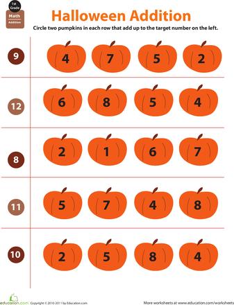 Holiday Math Halloween Addition Worksheet Education Com Holiday Math Holiday Math Worksheets Kids Math Worksheets