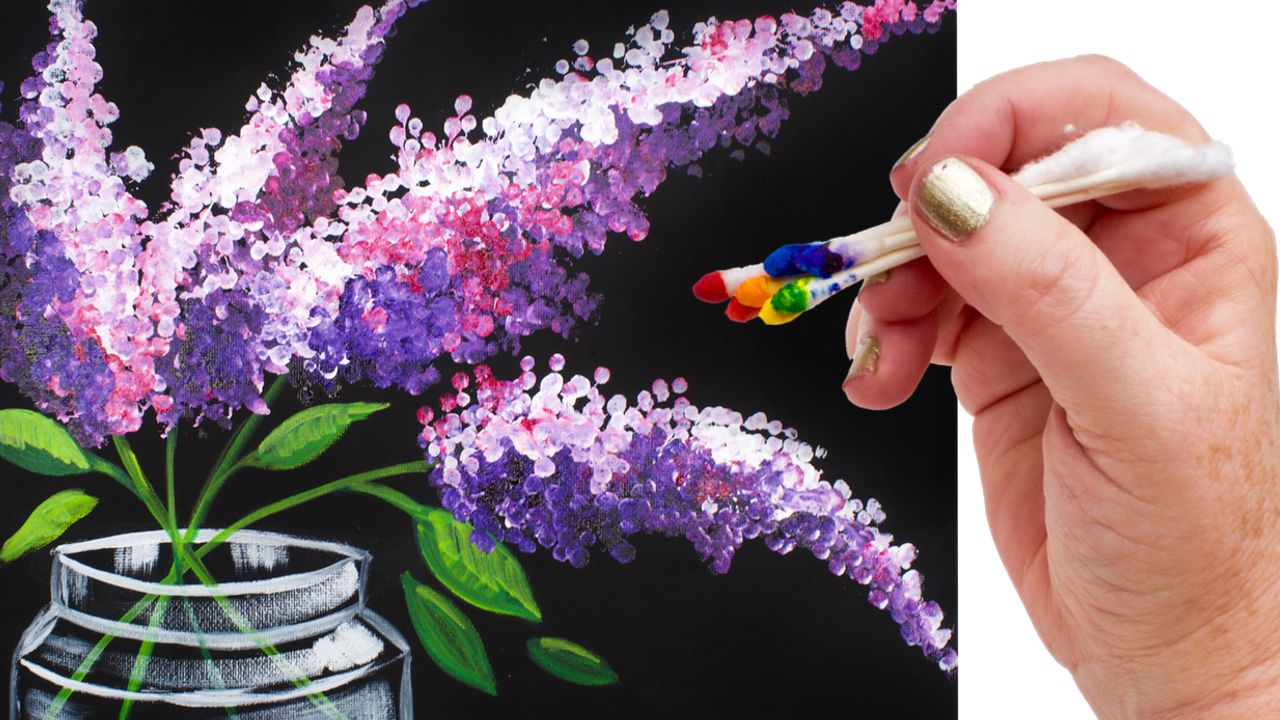 Q-tip floral painting step by step easy art project for Beginner by the Art