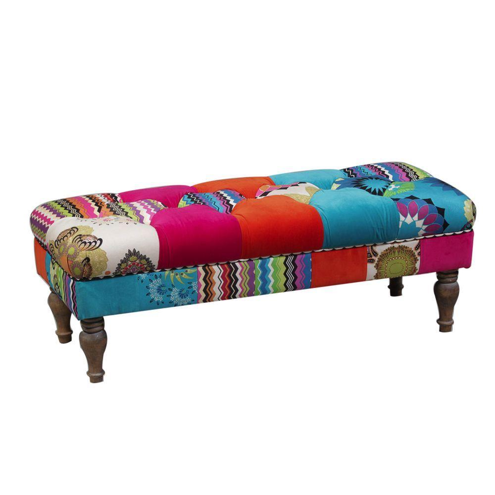 Elderflower Lane Colourful Large Patchwork Wide Bench Seat