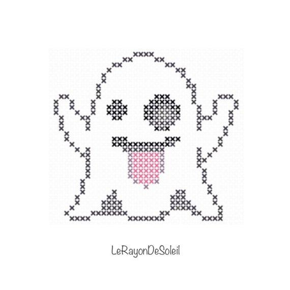 mini ghost emoji cross stitch pattern pdf