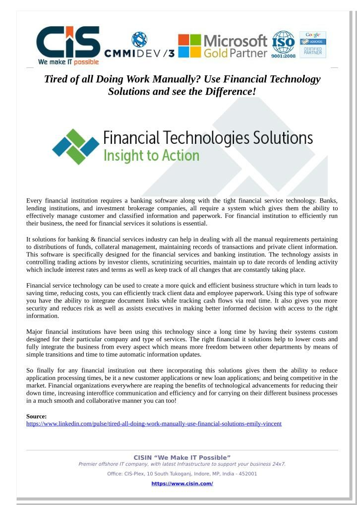 Tired Of All Doing Work Manually Use Financial Technology Solutions And See The Difference Technology Solutions Banking Software Financial Institutions