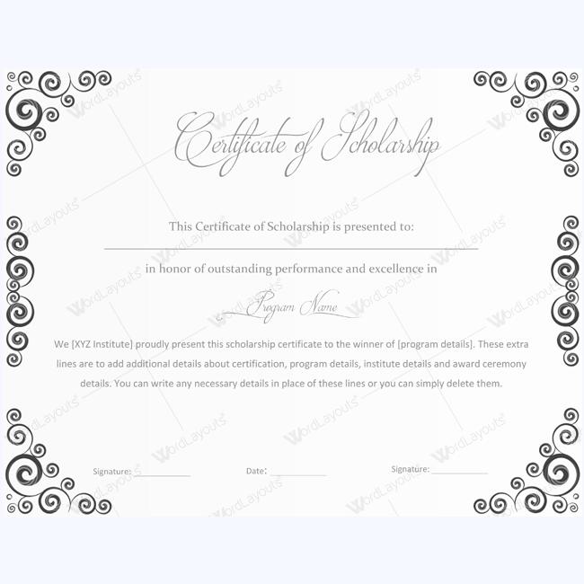 Editable Scholarship Certificate Scholarshipcertificate