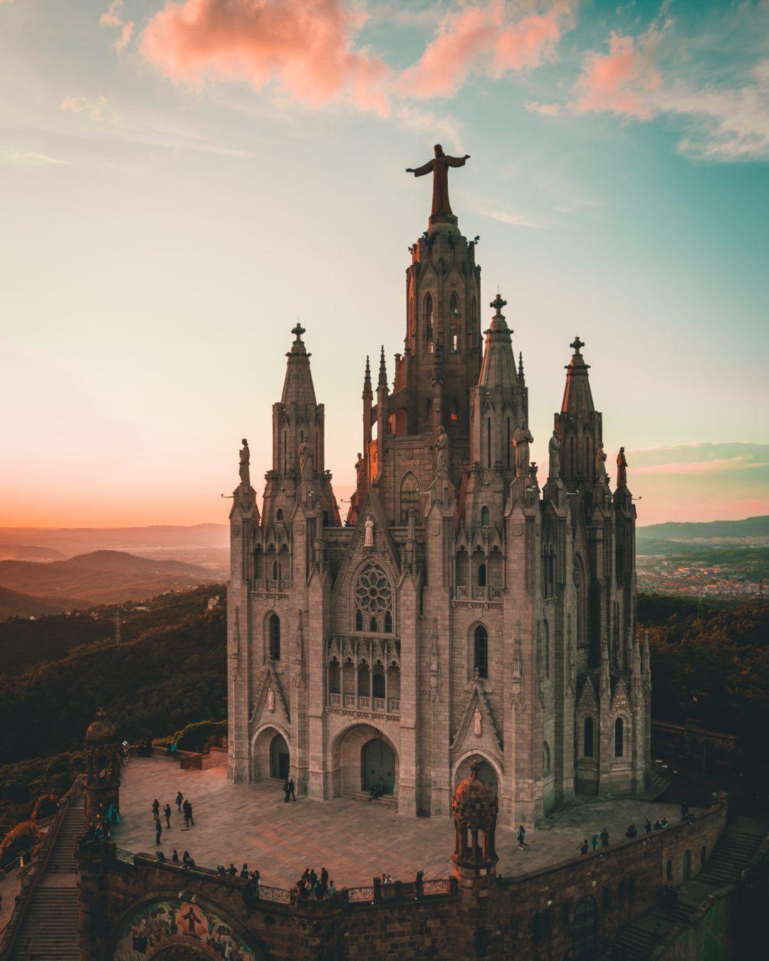 View at Tibidabo in Barcelona, Spain.