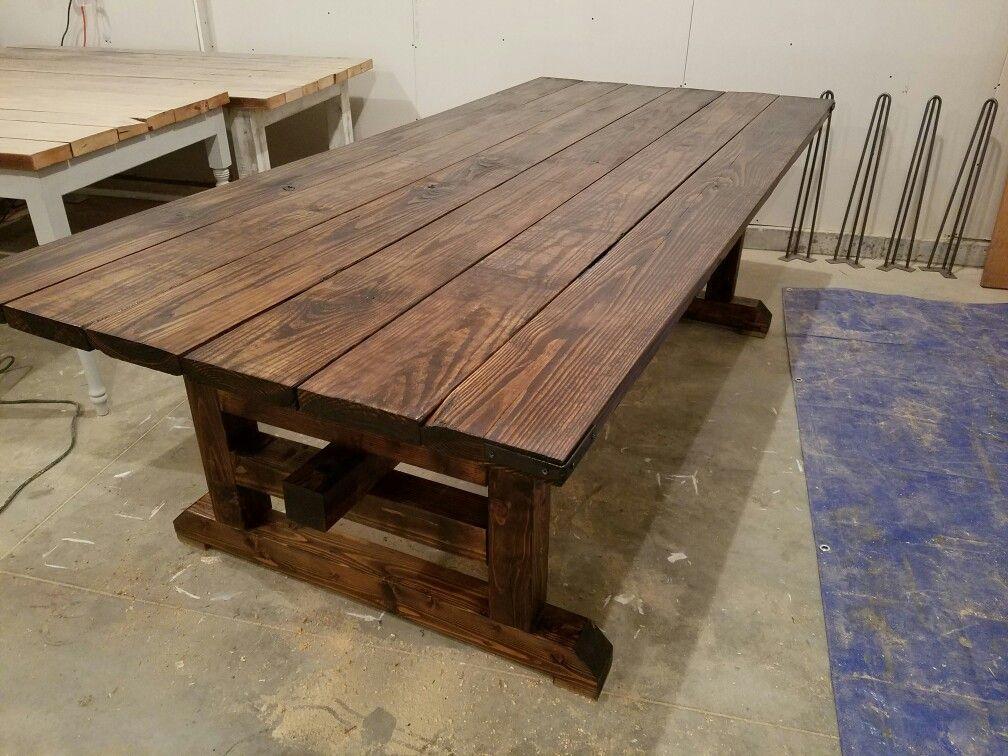 Viking Table With Guillotine Legs Dark Walnut Stain And Metal