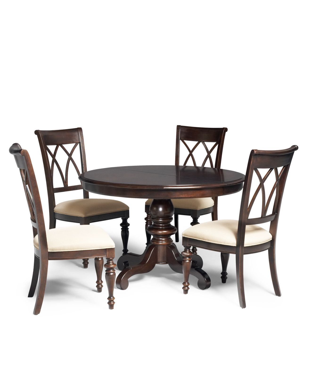 Bradford Dining Room Furniture, 5 Piece Set (Round Table And 4 Side Chairs) Idea
