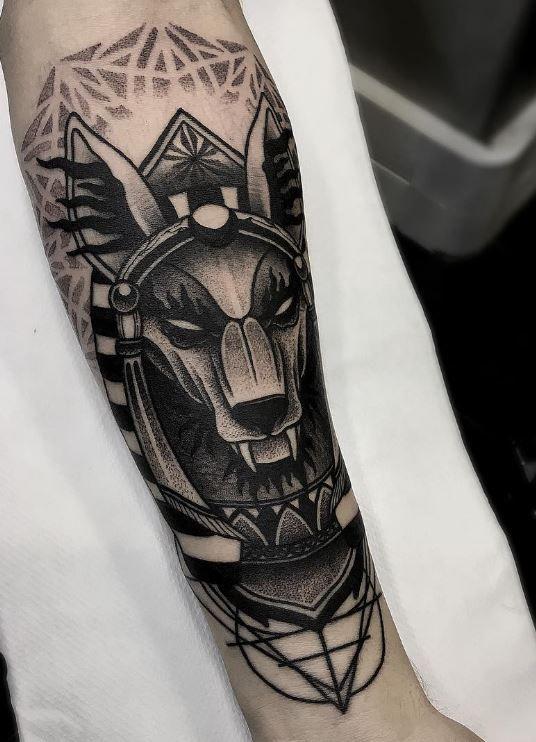 anubis tattoo arm