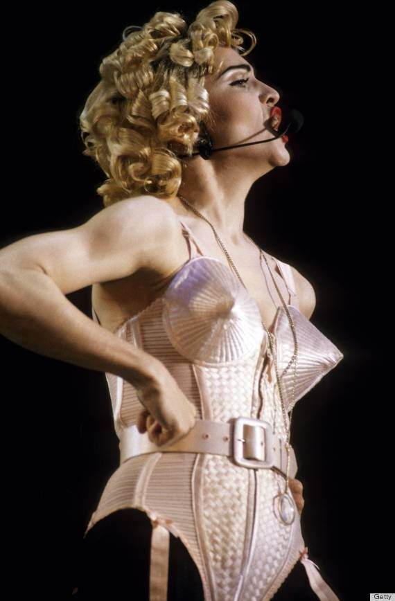 Madonna Blond Ambition Tour. Costumes including conical bra by designer Jean Paul Gaultier & PHOTOS: Madonna Brings Back The Cone Bra! | Pinterest | Madonna ...