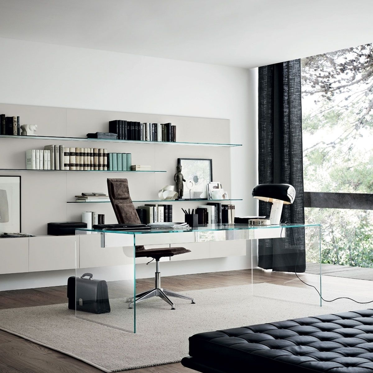 Air Modern Glass Desk By Gallotti Radice Klarity Glass