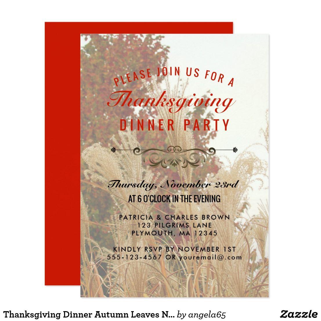 Thanksgiving Dinner Autumn Leaves Nature Red Invitation