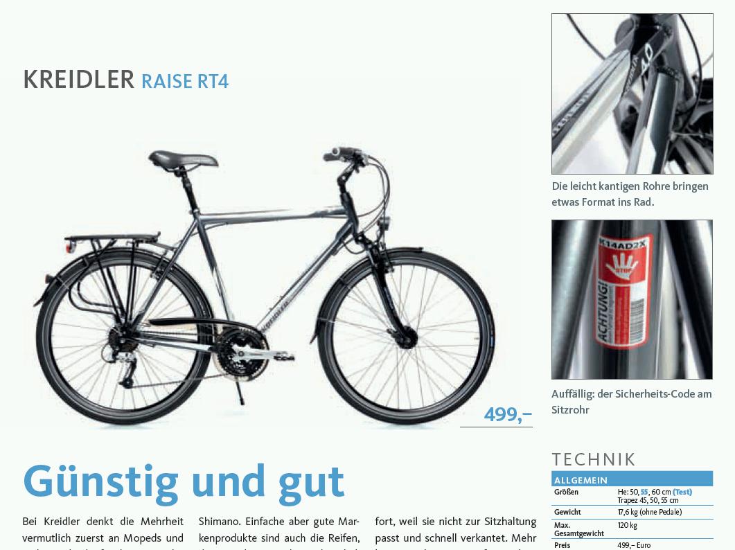 """Redakcja magazynu """"aktiv Radfahren"""" przetestowała jedną z naszych propozycji trekkingowych - Raise RT4. Recenzenci uznali, że ten model jest świetnym przykładem na to, iż połączenie dobrej jakości i rozsądnej ceny jednak jest możliwe... Szczegóły: http://kreidler.pl/kreidler-raise-rt4-tani-dobry-rower-trekkingowy/"""
