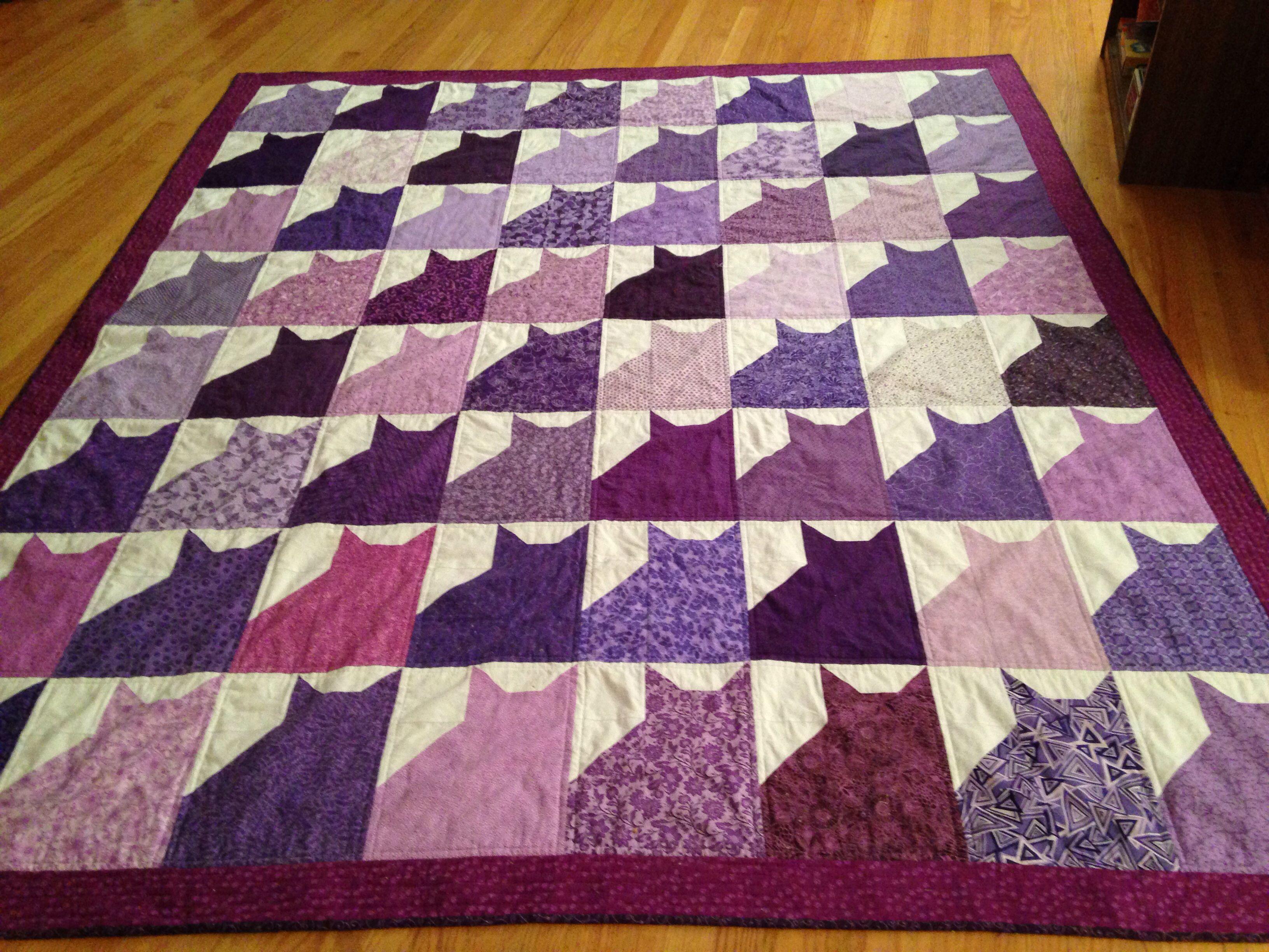 Purple kitty quilt