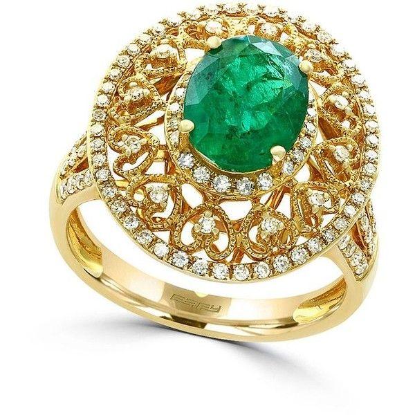 Effy Brasilica 14K Yellow Gold Diamond and Natural Emerald Ring
