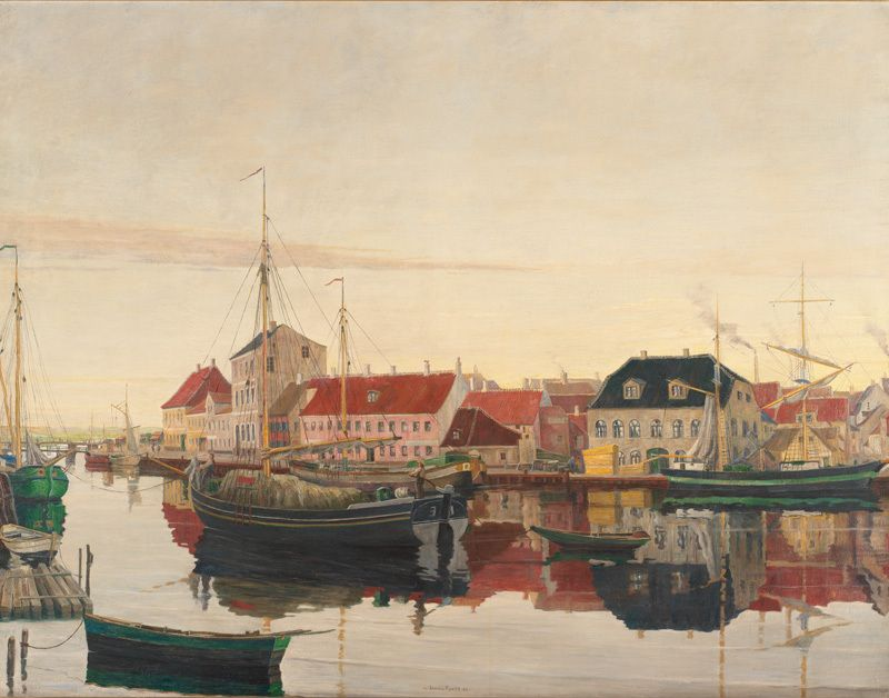 Johan Rohde Danish Artist Randers 1856 Hellerup 1935 Randers Havn Randers Harbour 1906