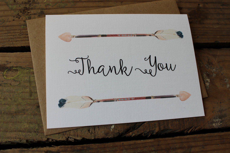 Watercolor Arrow Thank You Wedding thank you cards