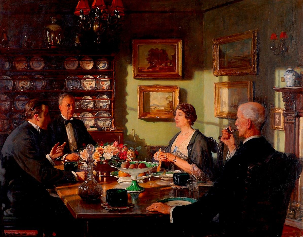 The Birthday Party By Frederick William Elwell A British Artist who is also in the picture with his wife and has his back to the viewer smoking a pipe.