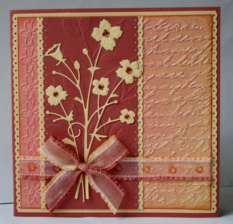 Bella Bouquet on embossed background