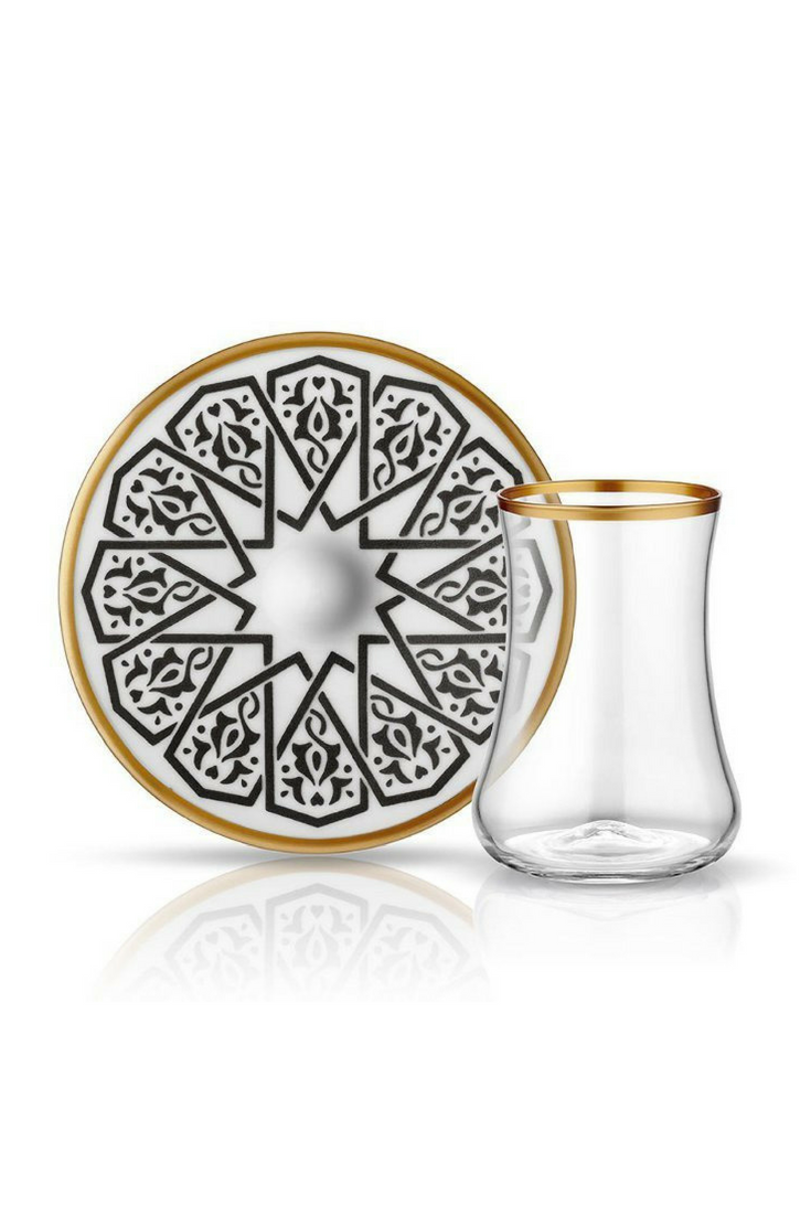 Dervish Seljuq Tea Glass And Saucer Mat Black