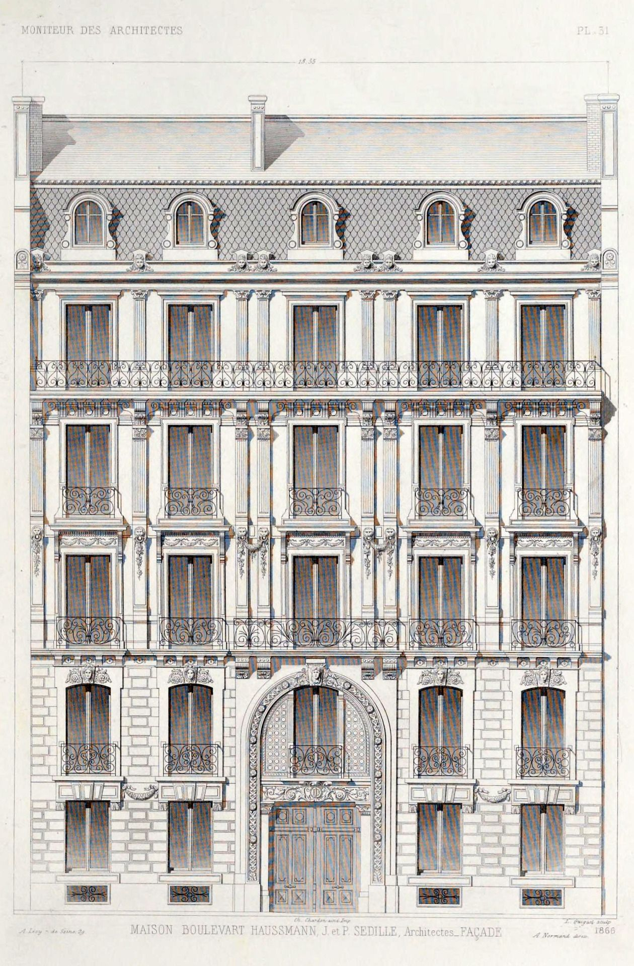 Elevation Of An Apartment Building On Boulevard Haussmann Paris