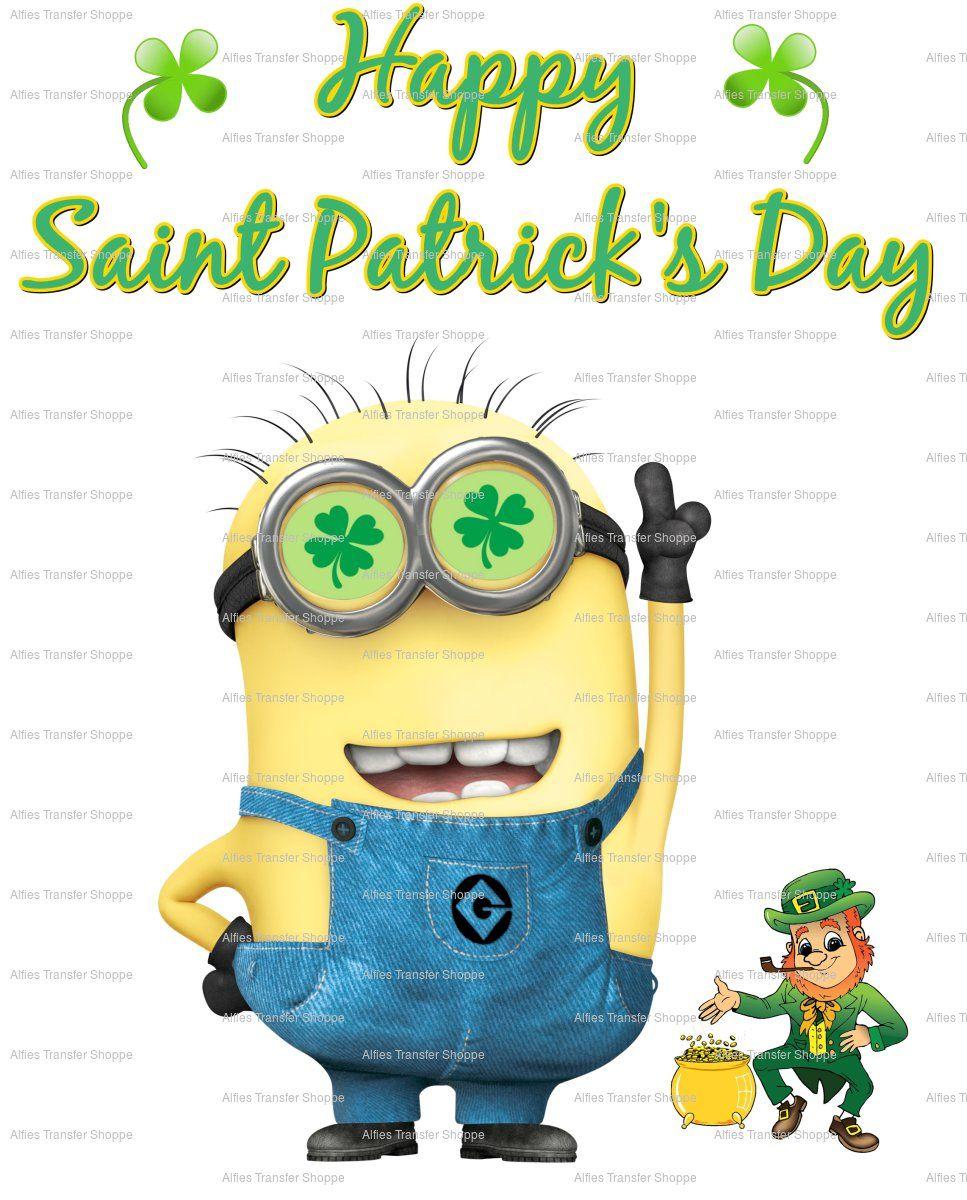saint patrick u0027s day minion w leprechaun iron on heat transfer 8 x