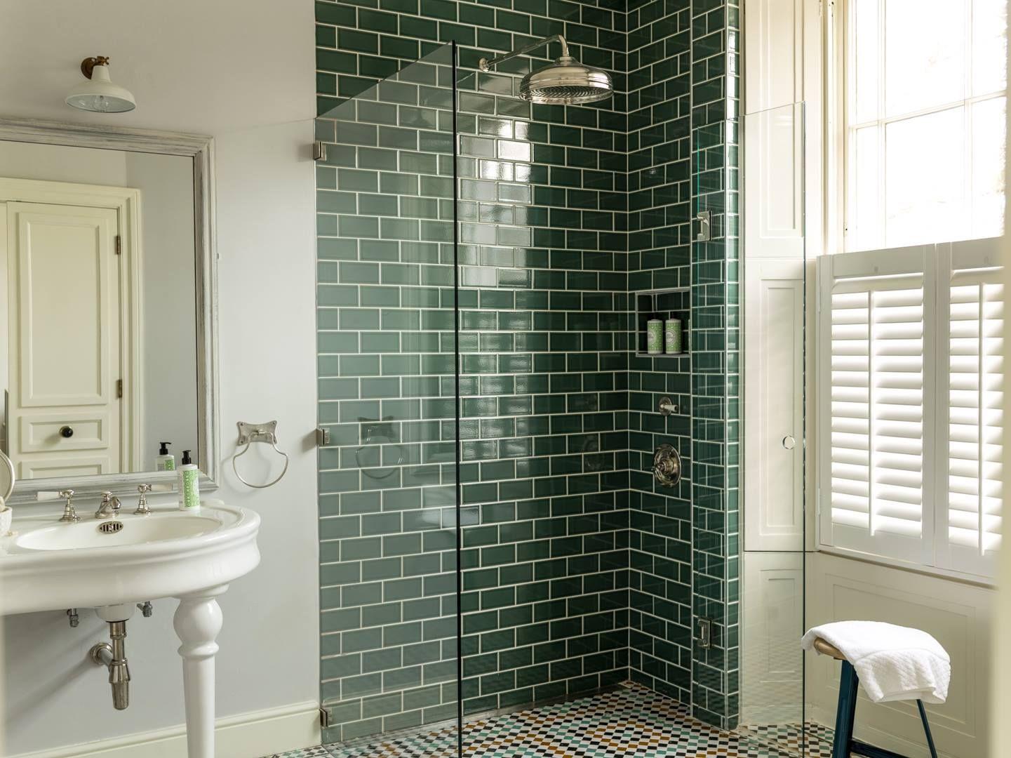Crackle Glaze Wall Tiles Uk Wall Tiles Wall Tiles Dark Green Bathrooms Green Bathroom Green Tile Bathroom