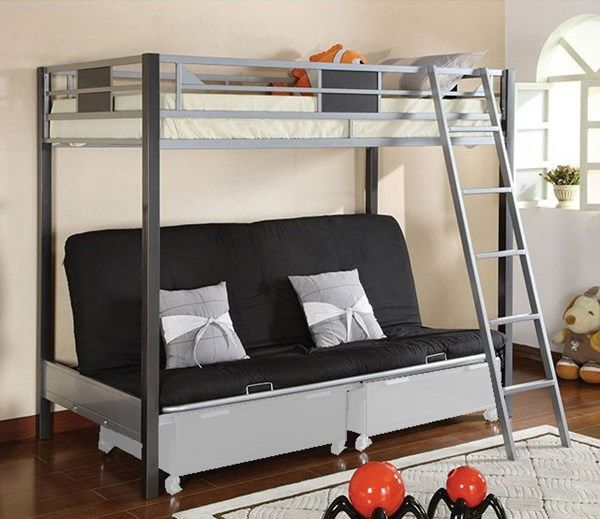 Cletis Silver Gun Metal Twin Bed W Futon Base Drawer Not Included