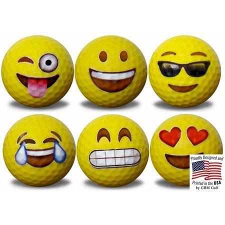 Emoji Golf Balls 6 Designs 6 Pack 1 By Gbm Golf Walmart Com In 2020 Golf Ball Crafts Golf Club Art Golf Ball